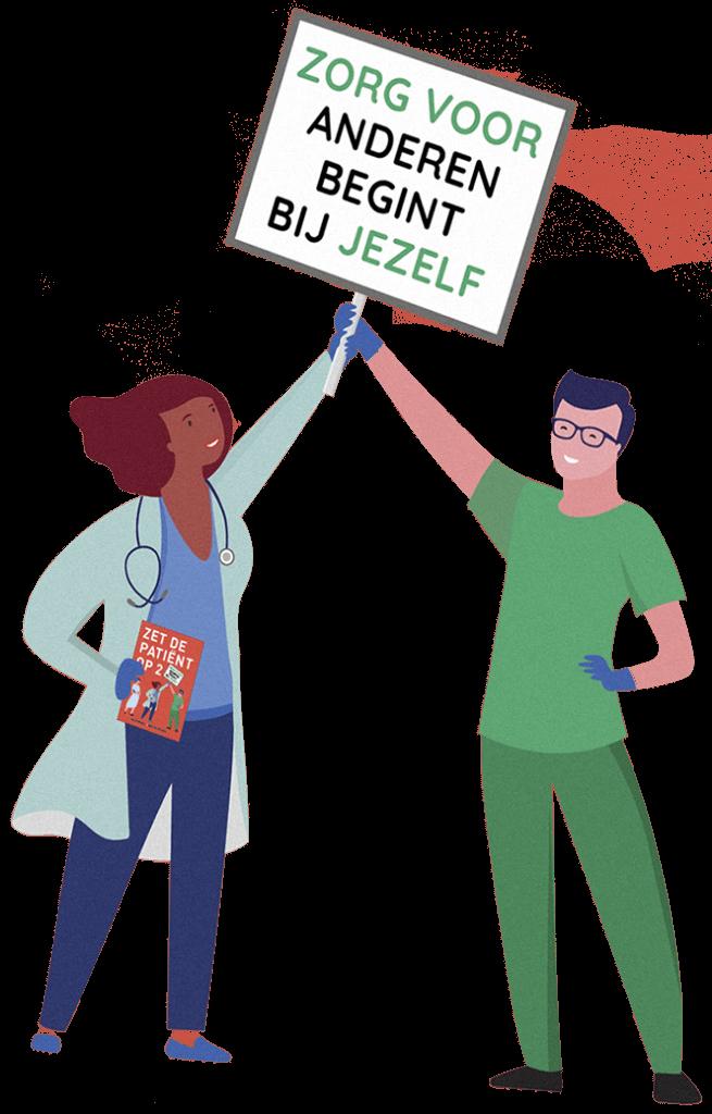 Cartoon zet de patiënt op twee